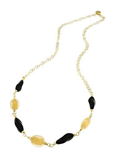 Venetiaurum - Collana da donna con perle foglia oro satinate in vetro originale di Murano e catena in Argento 925 placcata oro - Gioiello made in Italy certificato.