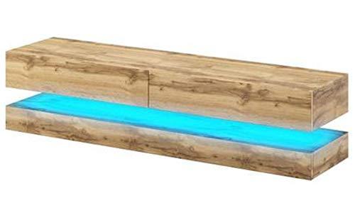 PEGANE Meuble TV Design Coloris chêne, avec éclairage à la LED Bleue