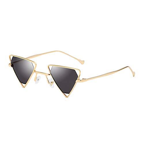 AMZTM Steampunk Sonnenbrille für Damen Herren Hohle Metall Rahmen Kleine Dreieck Brille Mode Punk Stil Vintage Retro Brillen, UV 400 Schutz (Gold Rahmen Grau Linse)
