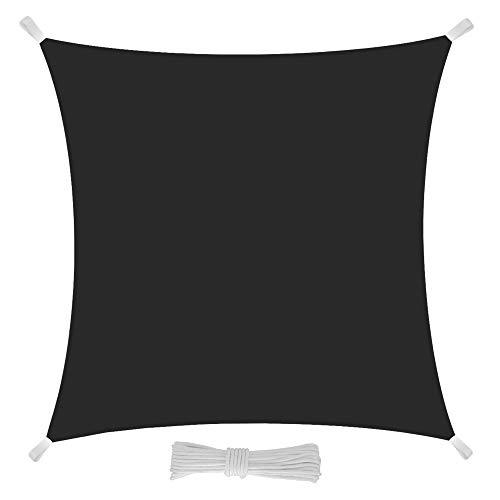 Eglemtek Toile pare-soleil carrée, voile, drap pour extérieur, protection contre les rayons UV, tissu en polyéthylène résistant et imperméable de couleur grise 5x5 m gris
