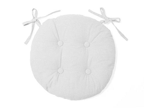 Soleil d'ocre cuscino per sedia rotondo capitonné in cotone panama bianco