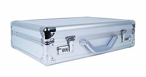 Aluminium Metall Laptop Aktenkoffer - Silber Aluminiumkoffer Business Attache Hartkoffer - Stoßdämpfender Alukoffer - MacBooks & Notebooks - Geeignet für 15.6 17.3 Zoll Bildschirme - Kombinationsschlösser - Weicher Innenschaum - Roamlite RL17A (Größen Laptop-bildschirm)