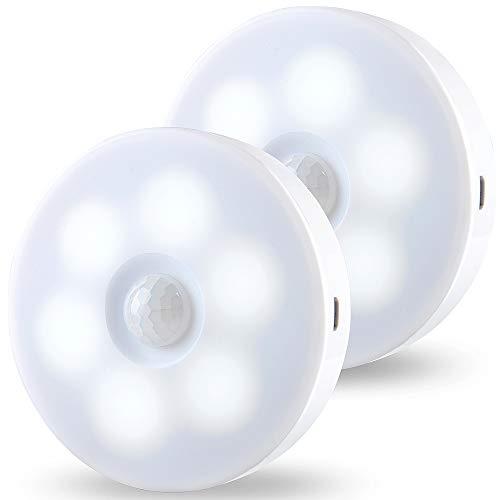 Luz Nocturna, JINPX Luz Noche LED con Sensor de Movimiento Recargable USB 2 pack Luz LED Armario Lámpara...