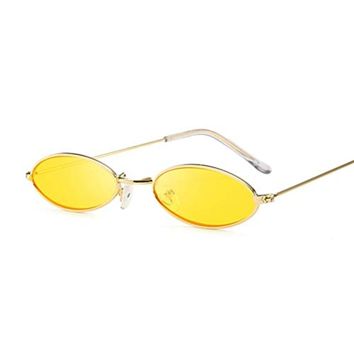 Retro Kleine Ovale Sonnenbrille-Frauen-weiblicher Weinlese-Hip Hop Balck Glasses Retro Sunglass Dame Luxury Eyewear (Lenses Color : GoldYellow)