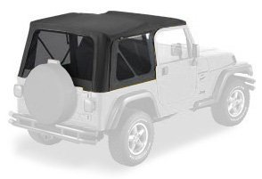 Bestop 79139-01 Black Sailcloth Replace-a-Top Soft Top with Tinted Windows; no door skins included for 97-02 Wrangler TJ by