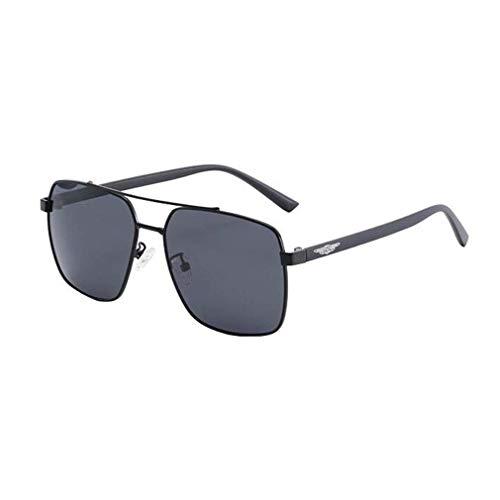 KISlink Herren Sonnenbrille - HD Polarized Square Sonnenbrille Herren Pilotenbrille Fahren Angeln Brille UV-Schutz Retro Frosch Spiegel (Farbe: Schwarz/Schwarz Grau)