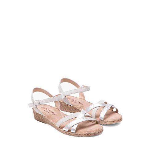 PORRONET - Sandalia Tiras para Mujer Color: Plata Talla: 41