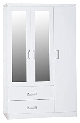 Seconique Charles 3 Door 2 Drawer Mirrored Wardrobe - White produced by Seconique - quick delivery from UK.