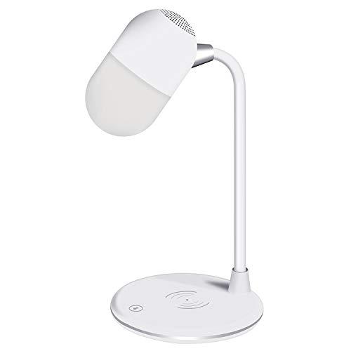 Bluetooth Lautsprecher Schreibtischlampe mit Qi-Ladegerät kompatibel mit iPhone 8/8 plus/x/xs, Galaxy S8/S8+/S7/S7Edge, LED-Tischleuchte Unterschiedlicher Lichtmodus für Studium, Schlaf, Arbeit