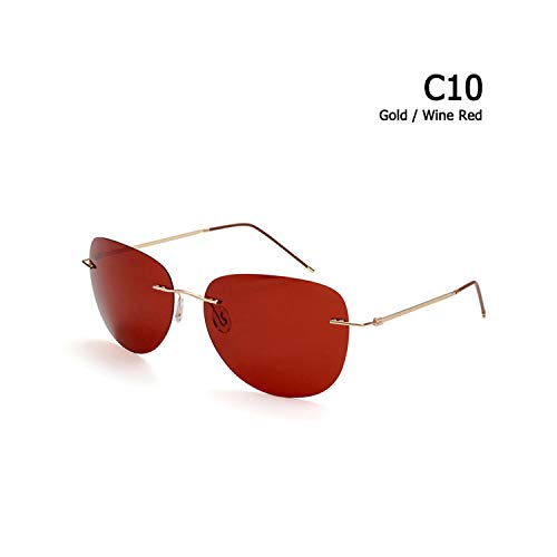 Sport-Sonnenbrillen, Vintage Sonnenbrillen, Männer Ultralight Titanium Polarized Folding Hinge Sunglasses Rimless Aviation Style Brand Design Sun Glasses Oculos De Sol C10 Gold Wine Red
