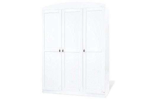 Pinolino Kleiderschrank Laura groß, schöner, 3-türiger Kleiderschrank, weiß, Maße 135 x 54 x 191 cm (Art.-Nr. 14 00 25 G)