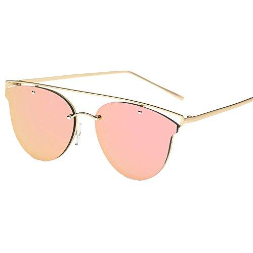 VENMO Las Mujeres Gato Ojo Gafas de sol Marco Metal Tono Clásico Espejo Gafas de sol Moda (Color de rosa)