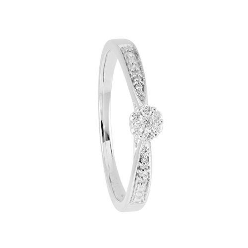 Diamond Line Damen - Ring 375er Gold 15 Diamanten ca. 0,1 ct., weißgold