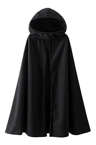 Mujeres Outwear Abrigos Chaquetas con Capucha De Gotica Frente Abierto Capa Poncho Manteau Black M