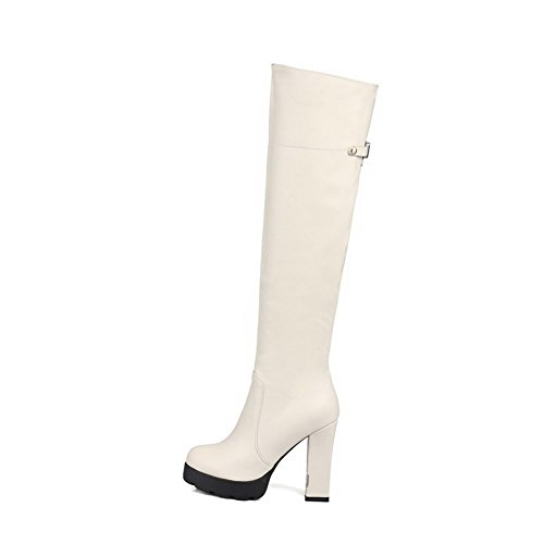 VogueZone009 Damen Hoher Absatz Weiches Material Rein Stiefel mit Metalldekoration Cremefarben