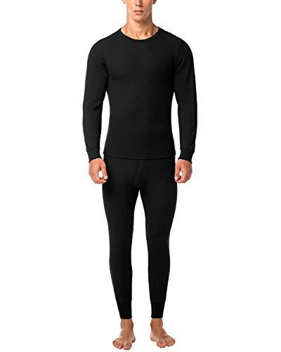 LAPASA Uomo Set Intimo Termico in Cotone Waffle Knit - Materiale Naturale - Maglia Maniche Corte & Pantaloni Invernali per Uomo M60 (Small, Nero)