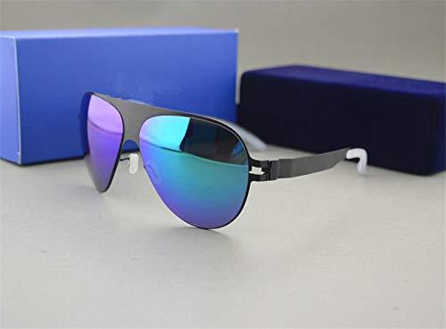 LKVNHP Hochwertige Sonnenbrille Markendesigner Franz Promi Handgefertigte Spiegel Sonnenbrille Männer & Frauen Gold Flash Pilot Aviator SonnenbrilleSchwarz Vs Blau