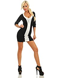 11434 Fashion4Young Damen Minikleid Kleid Party Stretch Bodycon Clubwear Dress Strick Slimline Schnürung Retro
