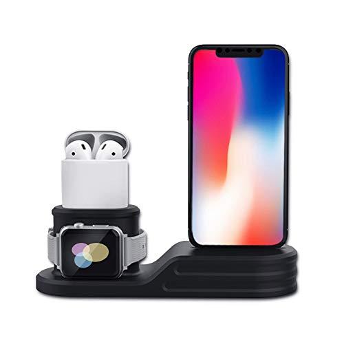 QIMU 3 in 1 Halter Silikon Ladestation Dock Station Halterung,Kreative Schnellladung,Apple Watch Airpods Ständer für Apple Watch Airpods und iPhone XS/XR 8/7/7 Plus / 6s / 6s Plus / 6