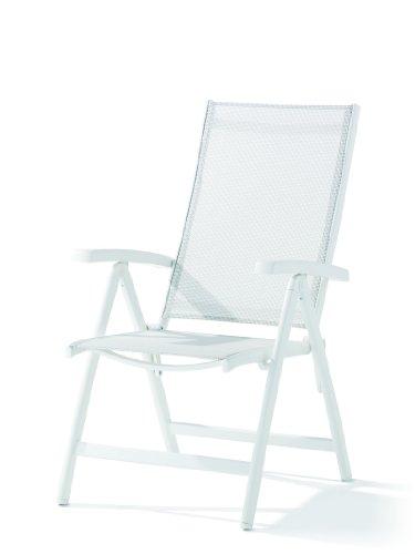 Sieger 945/W W Klappsessel Bodega, Aluminium, Vollkunststoff, Textilux, Weiß