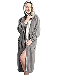 9052c411c9 Hooded Herringbone Womens Soft Spa Full Length Warm Light Bathrobe Ladies  Dressing Gown