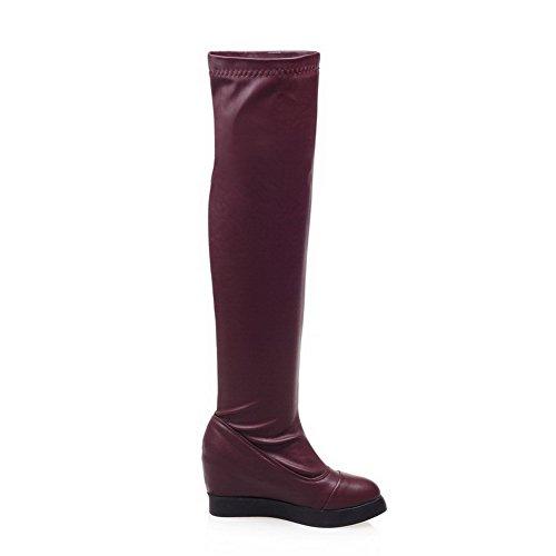 AgooLar Damen PU Überknie Hohe Stiefel Stiefel Rein Ziehen auf Mittler Absatz Stiefel, Rot, 34
