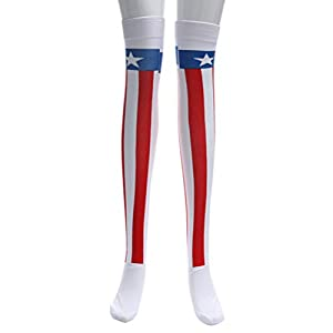 Amosfun Über Knie Lange Amerikanische Flagge Strümpfe Oberschenkel Hohe Socken für Frauen Damen Lange Sportlich Sport Rohr Socken Party Kostüme