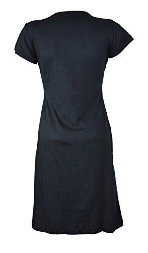Damen Kurzarm-Kleid mit Stickerei -PAINTED SHORT SLEEVE (3021) Schwarz