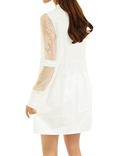 sourcingmap Femme Semi-transparente Manches Insert Maille Demi Patte De Boutonnage Robe Tunique Blanc