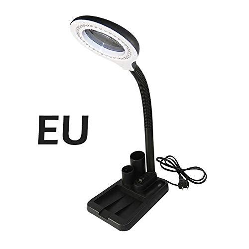DEQUATE EU-Stecker 220V fertigt Glaslinse, LED-Schreibtisch-Lupenleuchte Licht 5X 10X...