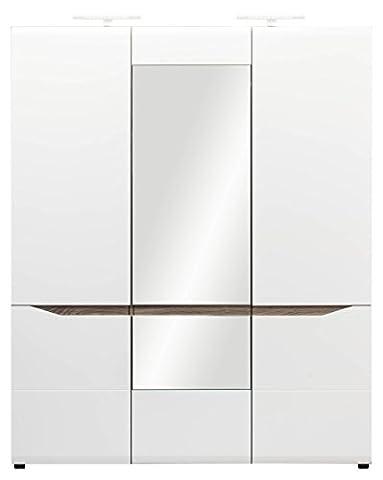Lisabeth Grande armoire avec miroir 3portes Armoire avec Étagères à suspendre Vêtements Rail Miroir en blanc brillant et chêne Sonoma Truffe Effet bois couleur