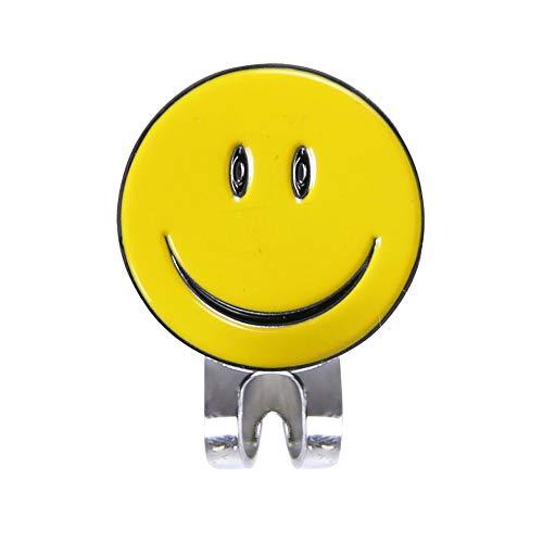 Isuper Sport Gesicht Golfballmarker Smiley Golf mit dem oberen Hut des magnetischen Clips, langlebig, Gelb (Geld-clip Golf)