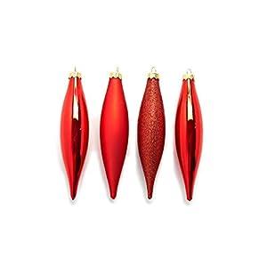 HEITMANN DECO Christbaumschmuck Olive aus Glas - Baumbehang Weihnachtskugeln Weihnachtsdeko - 4-teilig, Rot, Gold