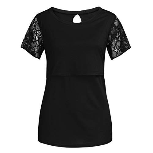 Clacce Mama Damen Still Umstands-Top Still-Shirt/Umstandstop, Schwangeres Stillen Nursing Schwangerschaft Top Umstandsmode Unterwäsche