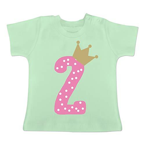 Geburtstag Baby - 2. Geburtstag Krone Mädchen - 18-24 Monate - Mintgrün - BZ02 - Baby T-Shirt Kurzarm
