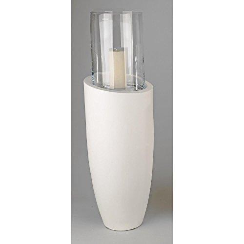 formano Bodensäule, Windlicht mit Glasaufsatz Keramik Creme weiß H. 93cm