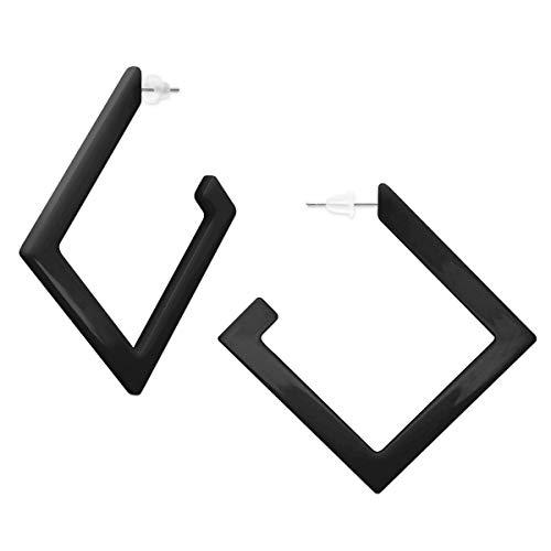 SoulCats® 1 Paar eckige Creolen aus Kunststoff sehr leicht in schwarz für Damen (Leichter Kunststoff Schwarz)