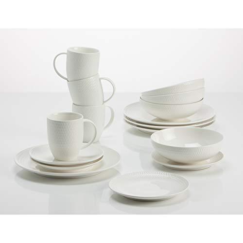Maxwell & Williams - Diamonds Round - Kaffee- und Tafelset - 16-TLG. - Porzellan - weiß