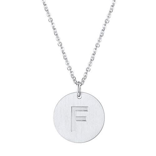PROSTEEL Buchstabe F Collier Damen Edelstahl Runde Initiale Gravur Anhänger mit 51cm Rolokette 20mm Münze Kette für Mädchen Halskette Geburtstag