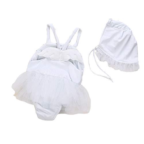 ANRIRA Kleinkind Baby Mädchen Badeanzüge Engel mit Hut Zweiteiler Neckholder Cute Swimwear Swimming Beachwear Outfits 0-24M,White,80CM (Mädchen Engel-outfits Für)