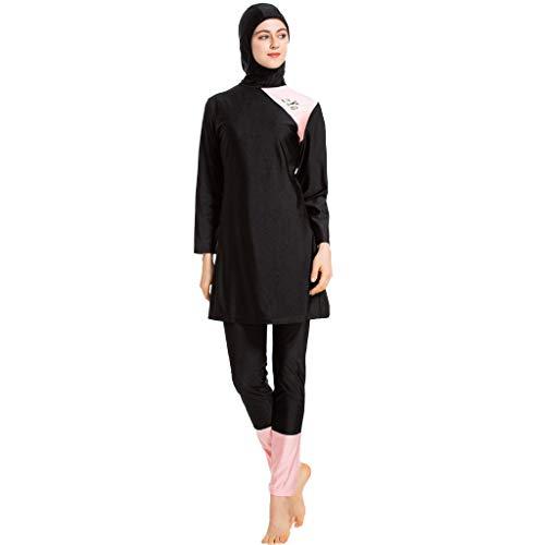 Xmansky Islamischen Muslimischen Damen Geteilter Badeanzug 3 Stück,Sommer Beachwear Swimwear Burkini 1PC Badekappe + 1PC Freizeit Badeanzug mit Pad + 1 PC Lange Badehose -