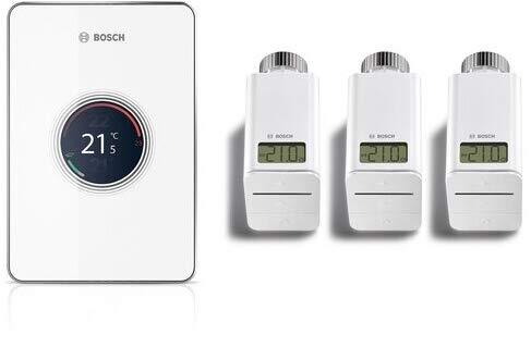 BOSCH Junkers Set CT200 W-LAN Regler EasyControl Set mit 3 Funk-Thermostaten weiß