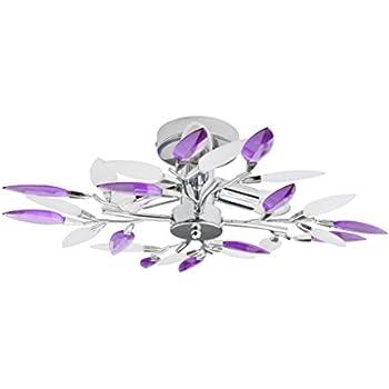 Ceiling Lamp Design Lamp Purple Leaves chrome Globo Giulietta 63167-3