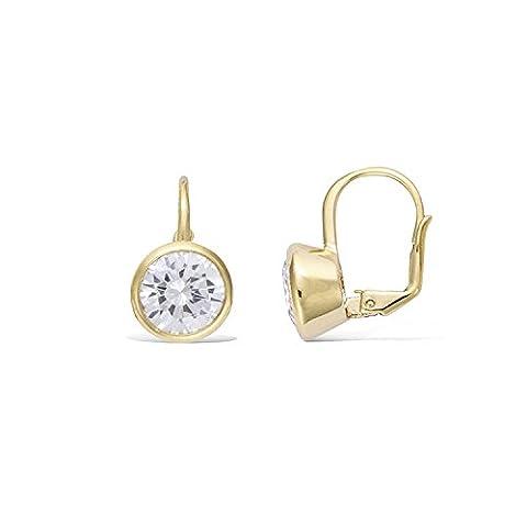 Mary Jane–/Drop Women's Earrings Gold Plated Zirconium Plated Diameter: 9mm–(Round)