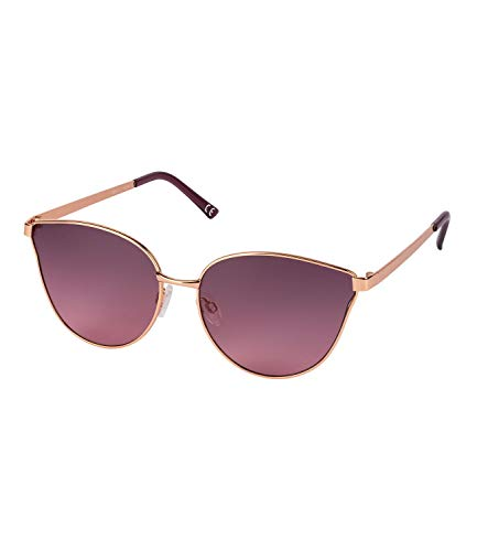 SIX Damen Sonnenbrille, Cat Eye, Metallgestell, UV400, rosé-gold, lila, braun (324-538)