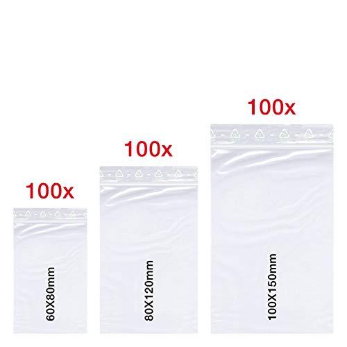 300 X Druckverschlussbeutel Set | 60x80 mm | 80x120 mm | 100x150 mm | 50 mµ Stark | LDPE | Transparent | Gefrierbeutel | Lebensmittelecht | ZipLock | Flachbeutel Set | von Smart PackTM