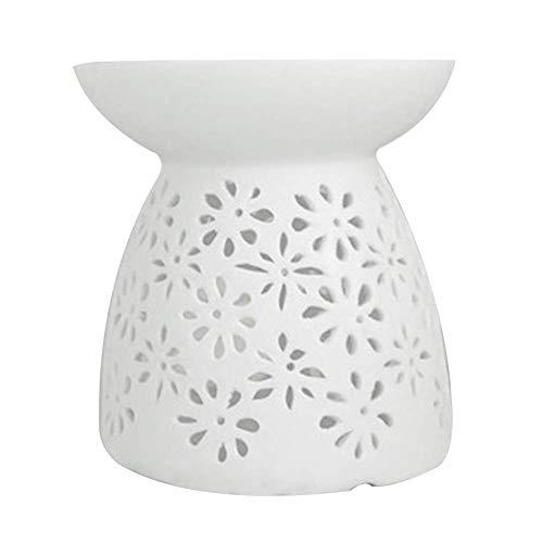 Matedepreso Keramik Teelicht Halter Aromatherapie Aroma Burner Keramik Lampe Diffusor für Wohnzimmer, Balkon, Terrasse, Veranda und Garten, Vase Form - Weiß, Free Size