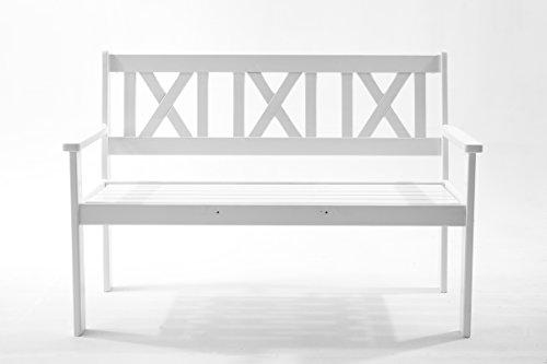 Ambientehome Gartenbank 2-Sitzer Bank Massivholz Holzbank EVJE, Weiß - 2