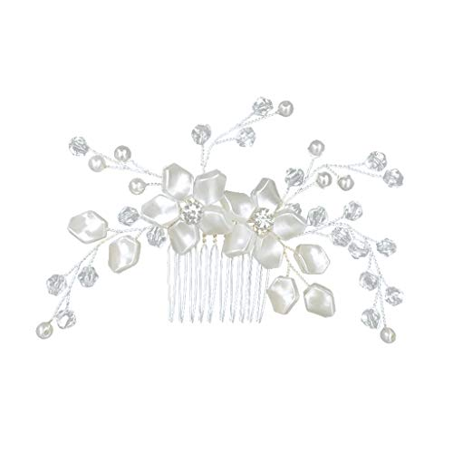 iCerber 2019 Neu für Hochzeiten von Handcess, Silber mit Strasssteinen, Milchig weiß Opal, Kristall, Vintage-Haarschmuck für Bräute und Brautjungfern - 4 1 3 Lockenstab