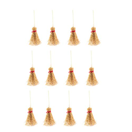 SUPVOX Mini Besen Kostüm Behänge Dekor mit rotem Seil Stroh Besen Assistent Zubehör für Halloween Party 24St